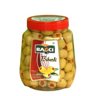 Bagci Green Olives Stuffed With Red Peppers 700g