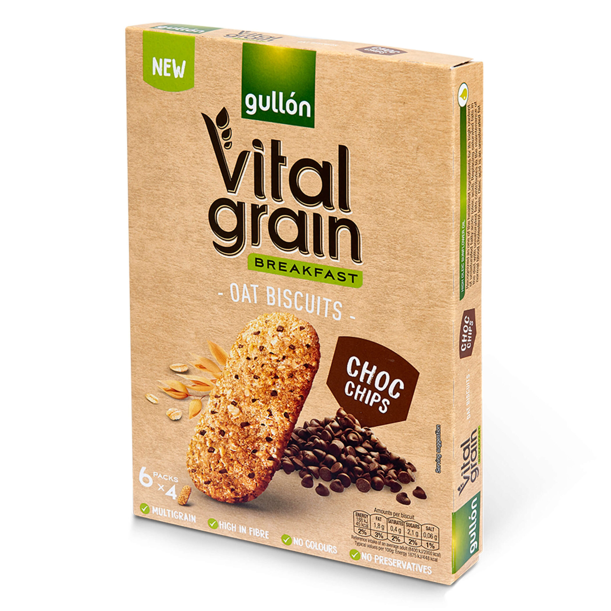 Gullón Vital Grain Oat Biscuits with Chocolate Chips 240g (6 Packs)